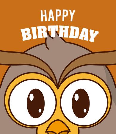 Owl Happy Birthday Cute Card Cartoon Vector Illustration Graphic