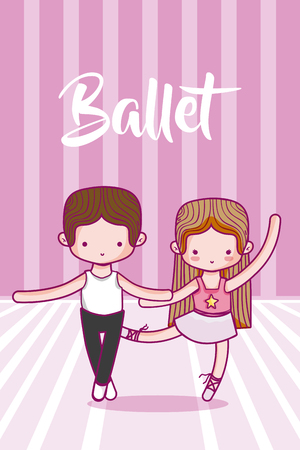 Cute kids ballet dancers cartoons vector illustration graphic design