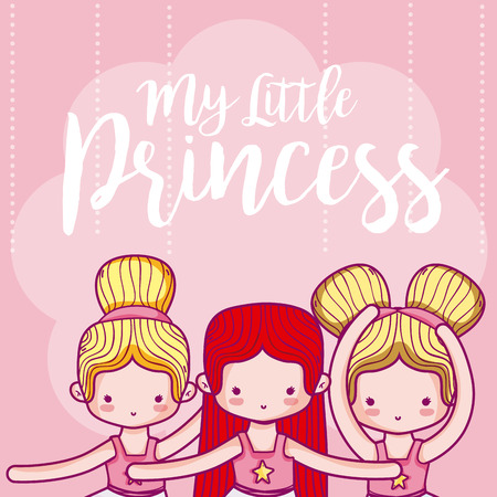 My little princess cute card with girl vector illustration graphic design