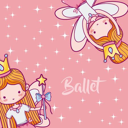 Cute girls ballet dancers frame cartoons vector illustration graphic design Illustration