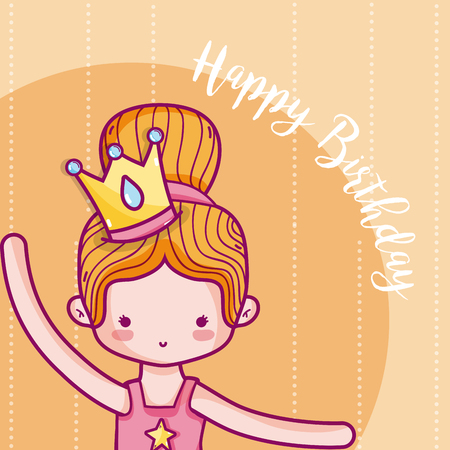 Happy Birthday Card For Girl With Princess Cartoons Vector