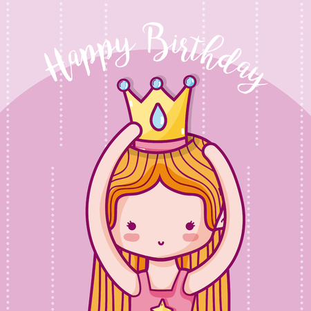 Happy birthday card for girl with princess cartoons vector illustration graphic design