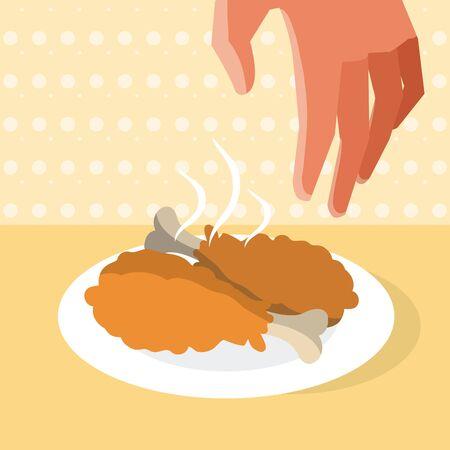 Hand grabbing fried chicken on dish vector illustration graphic design