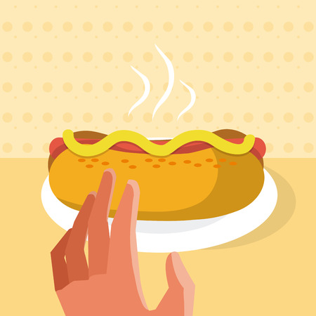 Hand grabbing a hotdog from dish vector illustration graphic design