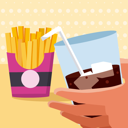Hand with soda and french fries vector illustration graphic design