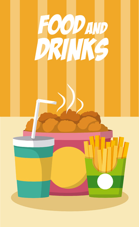 Fast food combo with soda vector illustration graphic design