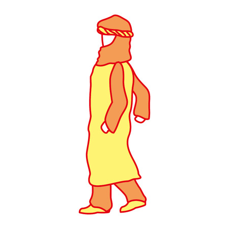 Arabic man with robe and pants design vector illustration