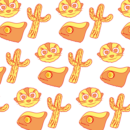 Duo color cactus plant with chameleon and meerkat background vector illustration.
