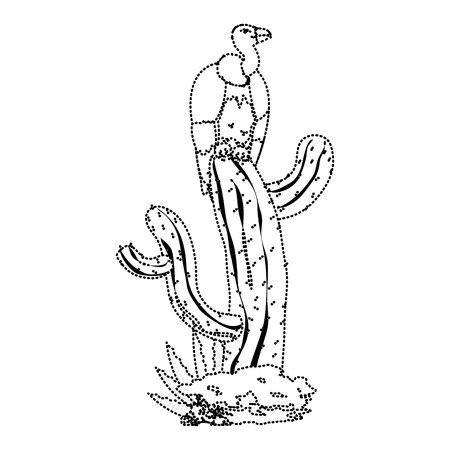 dotted shape wild vulture animal in the cactus plant vector illustration Vettoriali