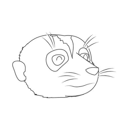 dotted shape cute meerkat head wild animal Vector illustration. Stock Illustratie