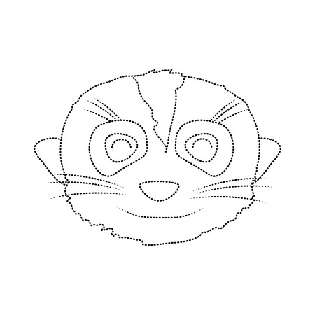 dotted shape nice meerkat head wild animal Vector illustration.
