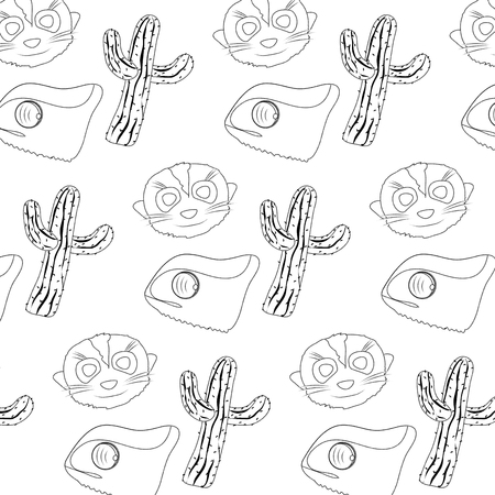 dotted shape cactus plant with chameleon and meerkat background Vector illustration.