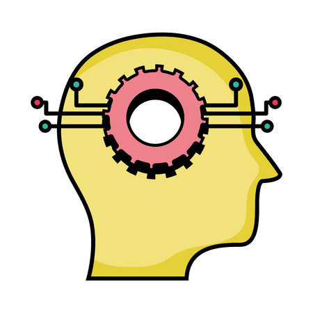 gear circuits to artificial intelligence technology Vector illustration. Illustration