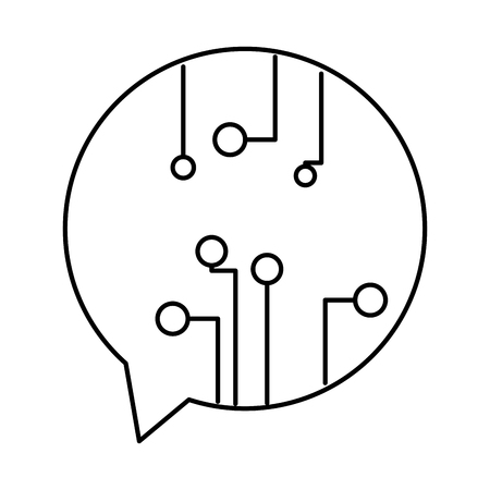 line circuits inside chat bubble to digital information Vector illustration.