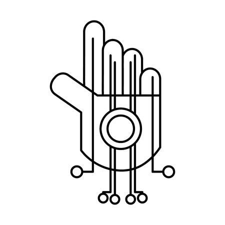 line robot hand circuits to robotic technology Vector illustration.