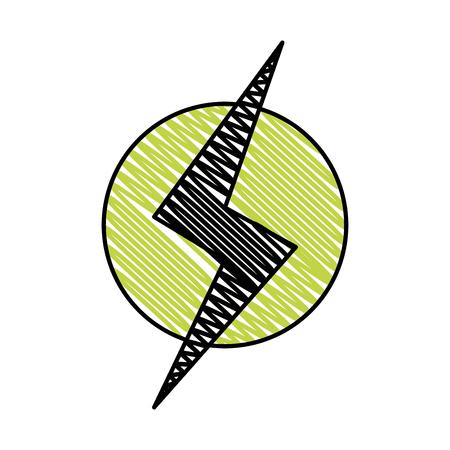 doodle power hazard energy to danger symbol Vector illustration.