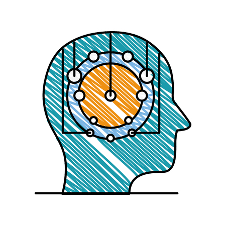 doodle artificial brain digital intelligence technology vector illustration