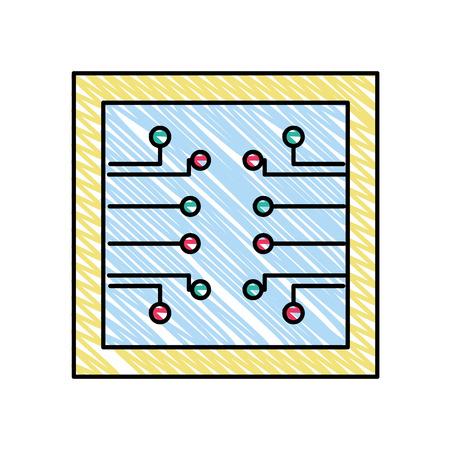 Red de circuitos de marco de doodle para ilustración de vector de tecnología artificial