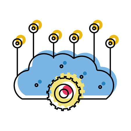 Moved color brain with gears and circuits to artificial intelligence vector illustration Illustration