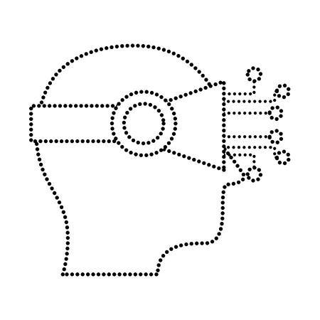 dotted shape future artificial visual digital technology vector illustration Illustration