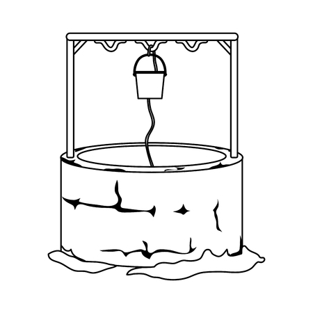 line water well hole with rope and bucket vector illustration