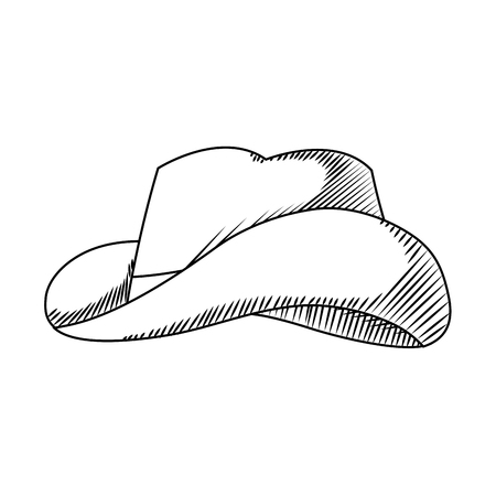 line waster hat object american style vector illustration