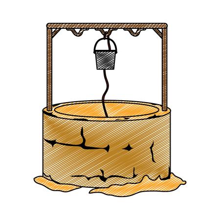 Krabbel van een waterputgat met kabel en emmer vectorillustratie