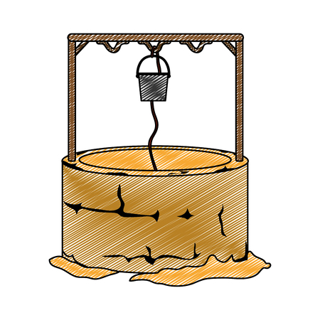 Doodle of a water well hole with rope and bucket vector illustration