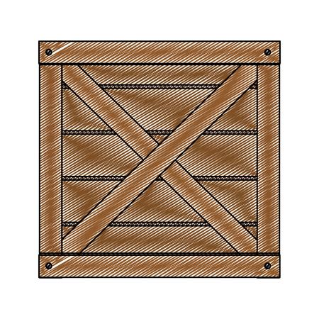Wooden box vector illustration on a white background Stock Illustratie