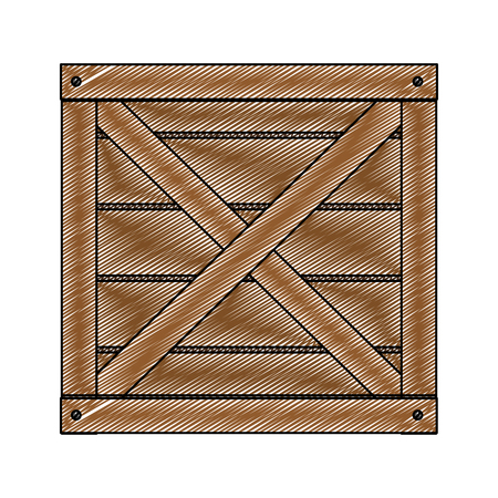 Wooden box vector illustration on a white background Vectores