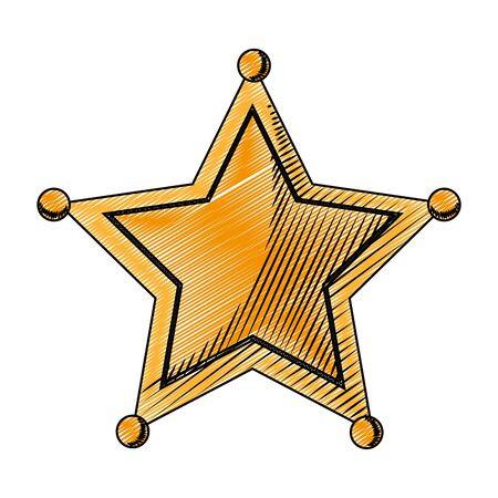 doodle western sheriffs star object symbol vector illustration