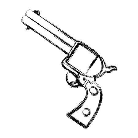 Grunge illustration of a gun on a white background