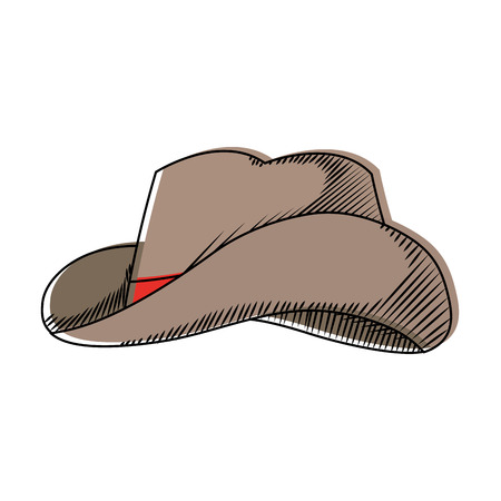 moved color waster hat object american style vector illustration