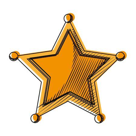 moved color western sheriffs star object symbol vector illustration Illustration