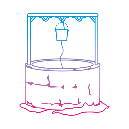 degraded line water well hole with rope and bucket vector illustration