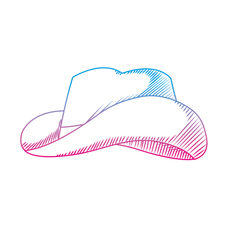 degraded line waster hat object american style vector illustration Illustration