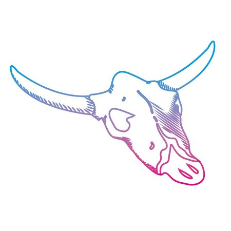 degraded line nature buffalo desert dead skull vector illustration Illustration