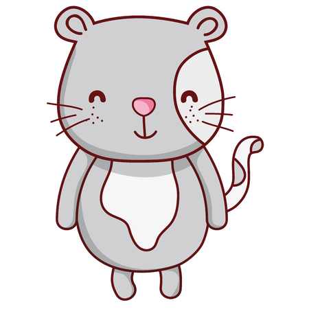 Happy cat cute animal with tail vector illustration. Illustration
