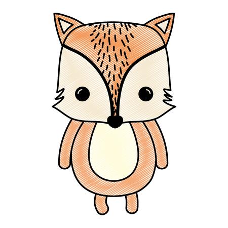 Doodle happy fox wild cute animal vector illustration.