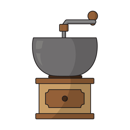 coffee grinder machine to coffee texture vector illustration  イラスト・ベクター素材