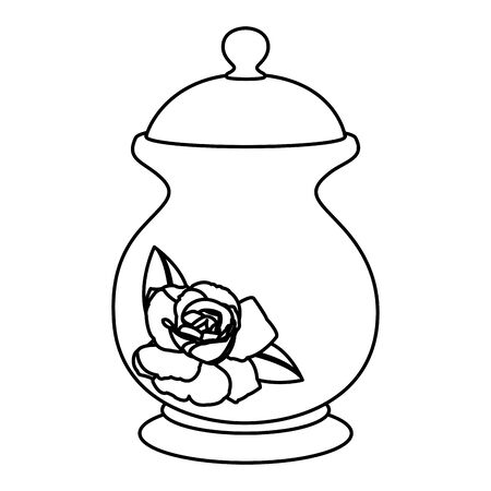 Line porcelain container with sweet sugar ingredient vector illustration.