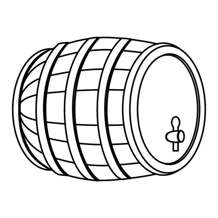 Line wood barrel with wine alcohol beverage vector illustration. Illustration