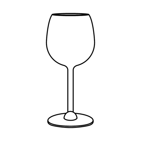 Line crystal glass object to drink wine vector illustration.