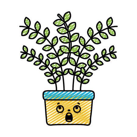 doodle kawaii scared plant with leaves inside flowerpot vector illustration