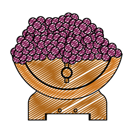 doodle wood barrel with wine and grapes fruit vector illustration