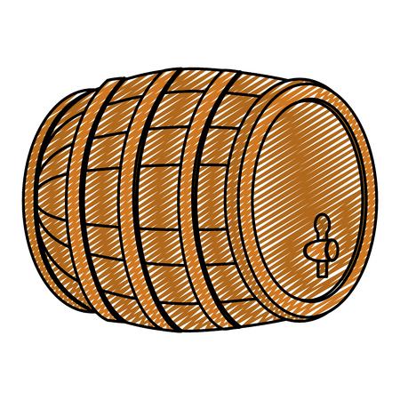 Ein hölzernes Fass des Gekritzels mit Weinalkohol-Getränkevektorillustration Standard-Bild - 98592574