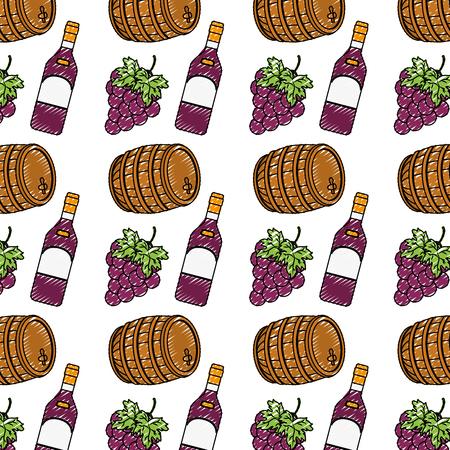 doodle wood barrel with bottle wine and grape fruit background vector illustration Ilustrace