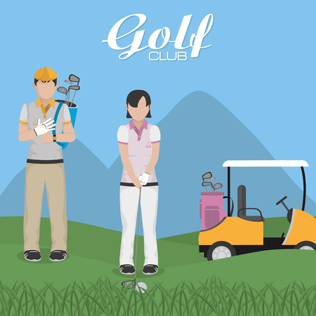 Golf players at camp cartoon vector illustration graphic design Vectores