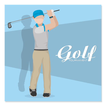 Golf male player at camp vector illustration graphic design.