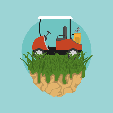 Golf cart on camp vector illustration graphic design Vectores